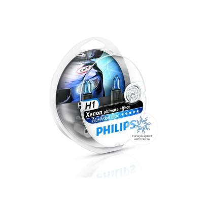 Набор галогеновых ламп Philips H1 12258BVUB1 BlueVision Ultra