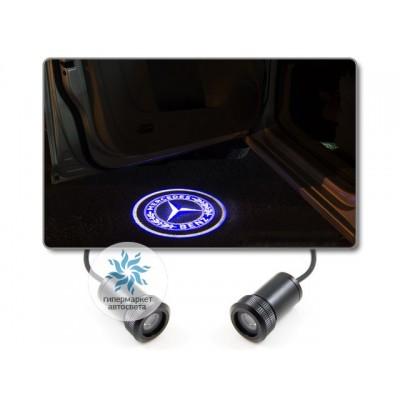 Подсветка дверей автомобиля: проекция логотипа Mercedes (вариант 2)