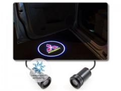 Подсветка дверей автомобиля: проекция логотипа Mitsubishi