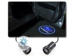 Подсветка дверей автомобиля: проекция логотипа Subaru