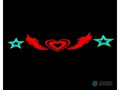 """Эквалайзер на заднее стекло """"Окрылённое сердце и звёзды"""""""