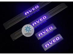 Накладки на пороги с подсветкой Chevrolet Aveo