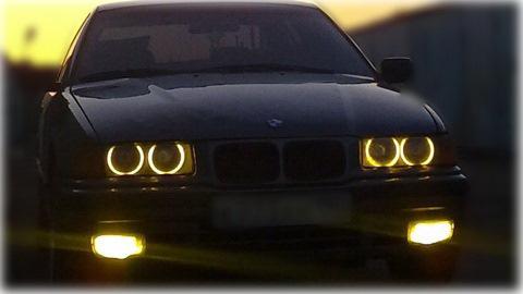 светодиодные плафоны в ангельские глазки bmw e39 желтого цвета